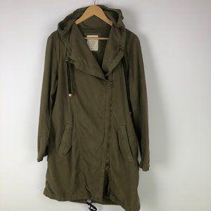 Esprit Long Coat Khaki Green Zipper Front has Hood